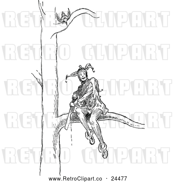 Vector Clip Art of Retro Jester Sitting on a Branch and Sawing It off a Tree