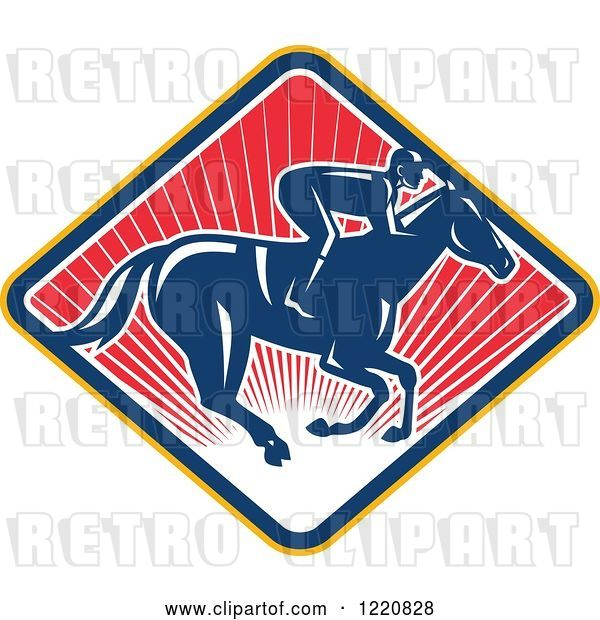 Vector Clip Art of Retro Jockey Racing a Horse on a Diamond of Red Sunshine