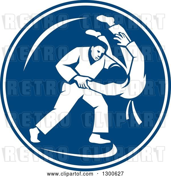 Vector Clip Art of Retro Judo Opponents in a Throw Takedown in a Blue and White Circle