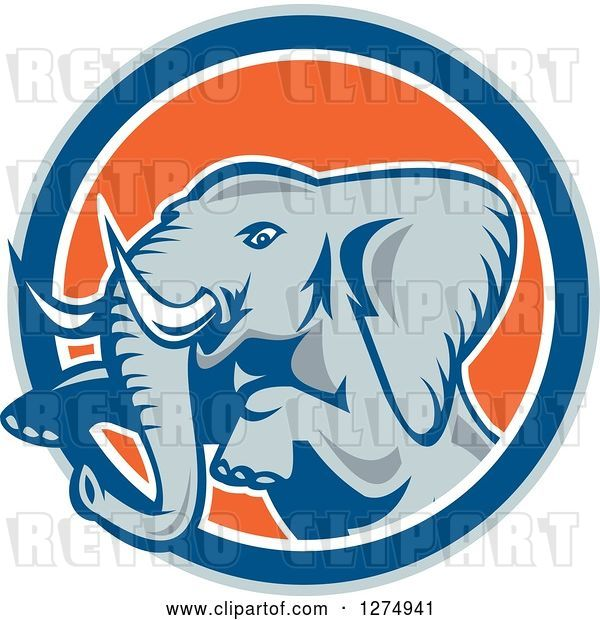 Vector Clip Art of Retro Jumping Elephant in a Gray Blue White and Orange Circle