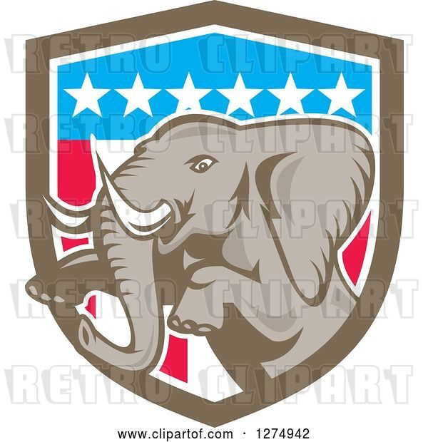 Vector Clip Art of Retro Jumping Elephant in an American Flag Shield