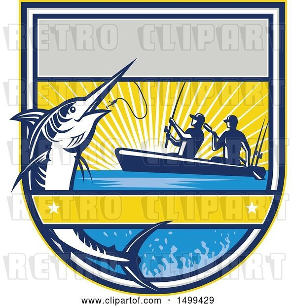 Vector Clip Art of Retro Jumping Marlin Fish Being Reeled in by Two Men Tandem Fishing from a Boat