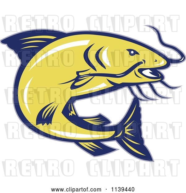 Vector Clip Art of Retro Jumping Yellow and Blue Catfish