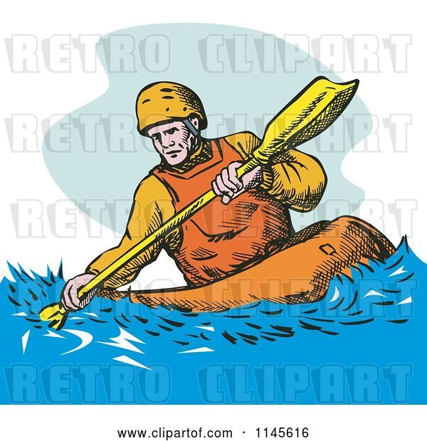 Vector Clip Art of Retro Kayaker Paddling 3