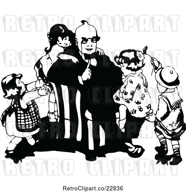 Vector Clip Art of Retro KChildren Climbing on Their Dad
