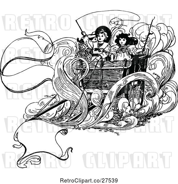 Vector Clip Art of Retro KChildren on a Carriage