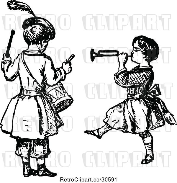 Vector Clip Art of Retro KChildren Playing the Drums and a Horn