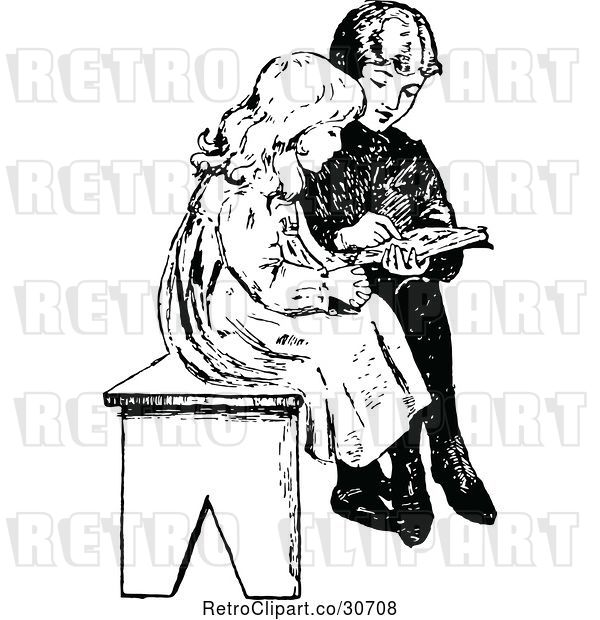 Vector Clip Art of Retro KChildren Reading on a Bench