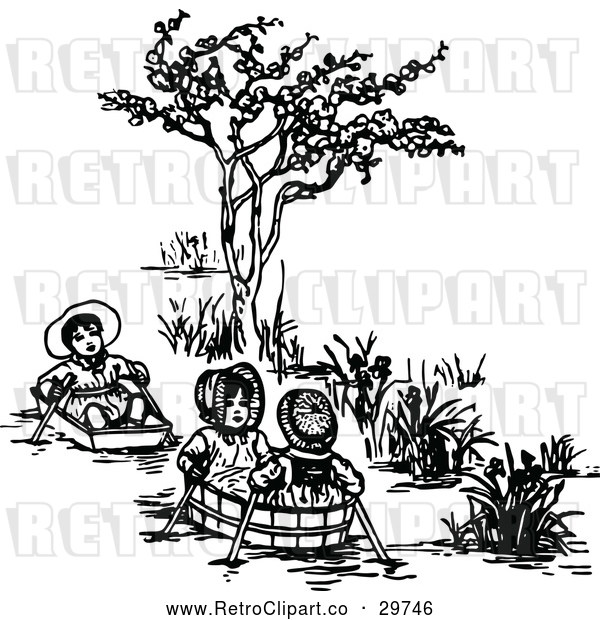 Vector Clip Art of Retro Kids in Basket Boats