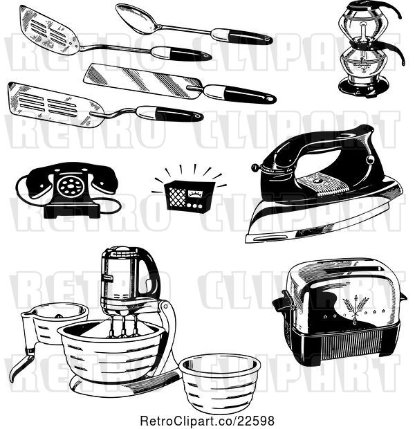 Vector Clip Art of Retro Kitchen Utensils Appliances and Household Items