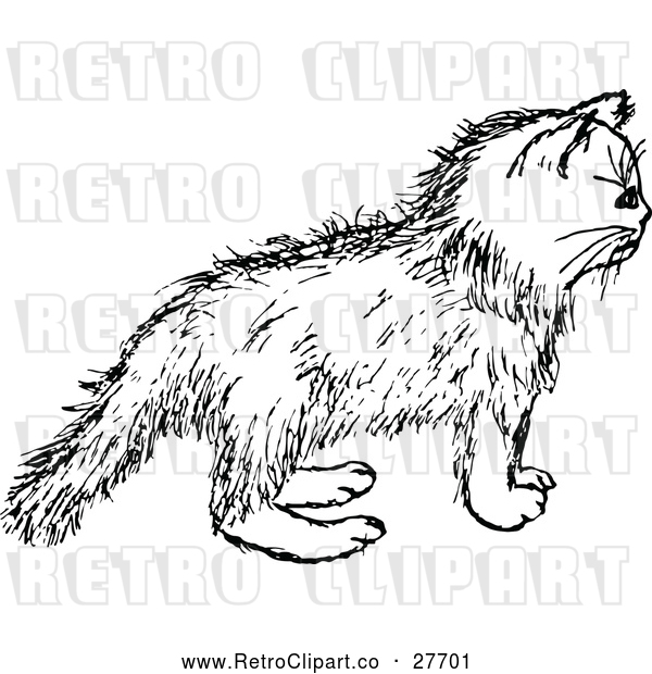 Vector Clip Art of Retro Kitten