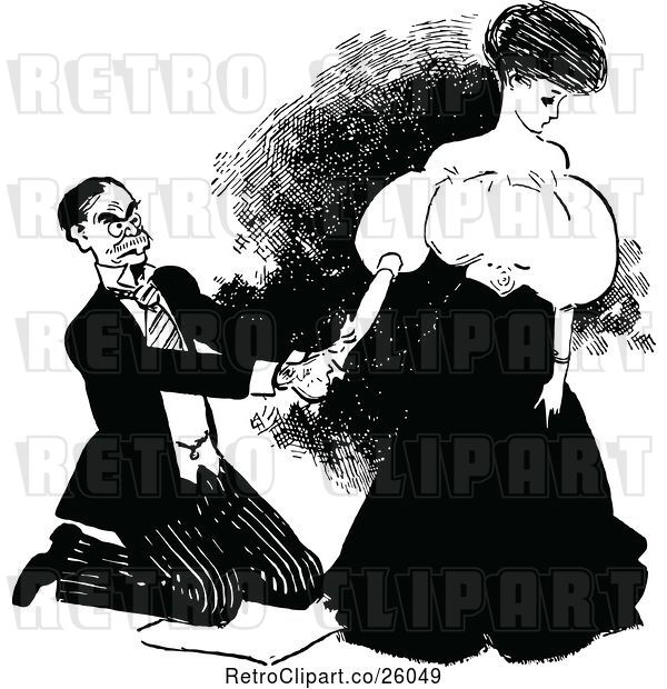 Vector Clip Art of Retro Kneeling Guy and Lady