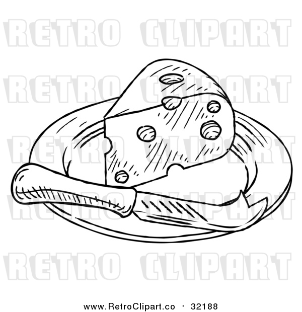 Vector Clip Art of Retro Knife and Cheese Wedge on a Plate