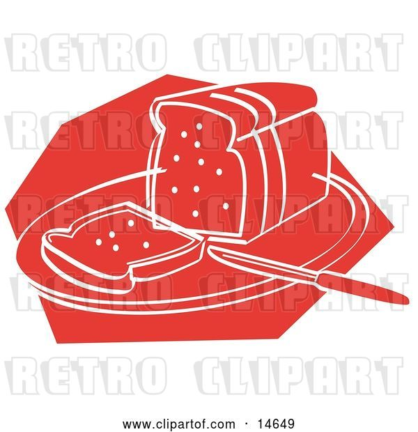 Vector Clip Art of Retro Knife Resting on a Cutting Board near Sliced Bread
