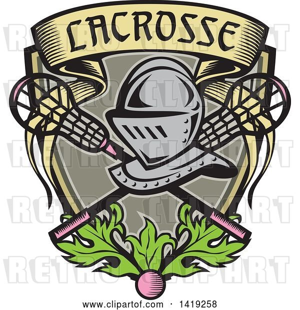 Vector Clip Art of Retro Knight Helmet over Crossed Lacrosse Sticks and a Woodcut Banner Shield with Leaves and a Ball
