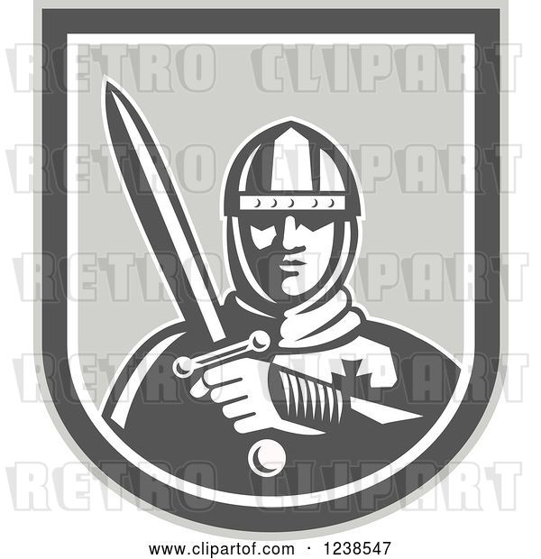 Vector Clip Art of Retro Knight Holding a Sword in a Shield