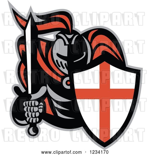 Vector Clip Art of Retro Knight in Full Armor, Holding a Sword and English Shield