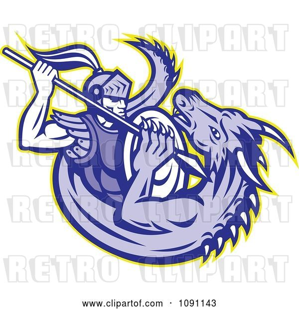 Vector Clip Art of Retro Knight Spearing a Dragon