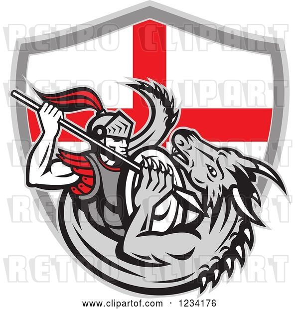Vector Clip Art of Retro Knight Spearing a Dragon over an English Flag Shield