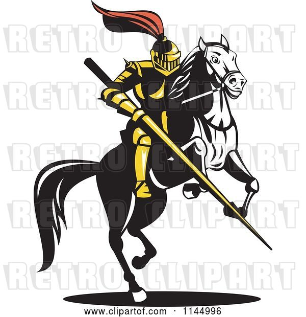 Vector Clip Art of Retro Knight with a Lance on a Jousting Horse 2
