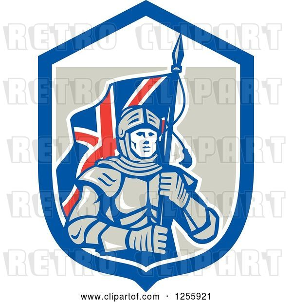 Vector Clip Art of Retro Knight with a Union Jack Flag in a Shield