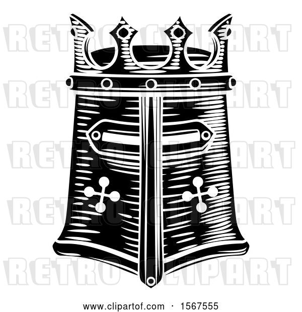 Vector Clip Art of Retro Knights Great Helm