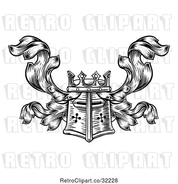 Vector Clip Art of Retro Knights Great Helm Helmet and Foliage Crest Coat of Arms