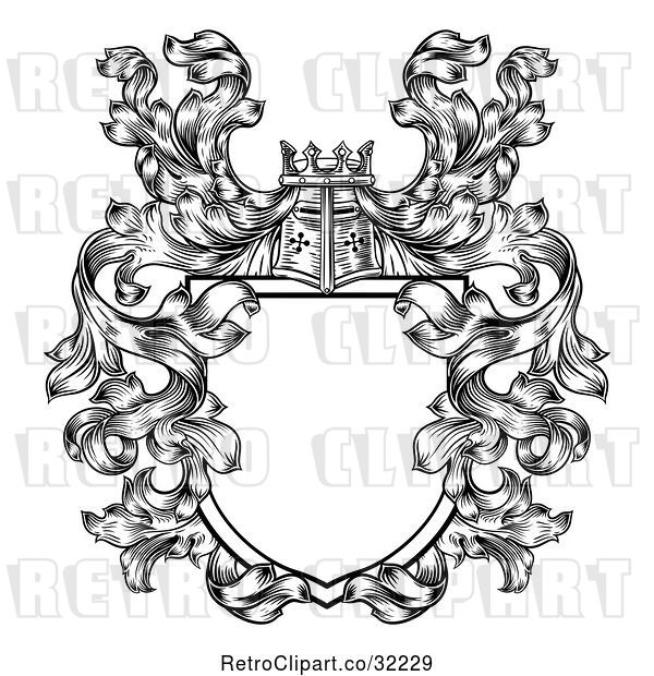 Vector Clip Art of Retro Knights Great Helm Helmet and Foliage Crest Coat of Arms Shield