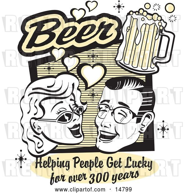 Vector Clip Art of Retro Lady and Guy with Beer, Beer, Helping People Get Lucky for over 300 Years