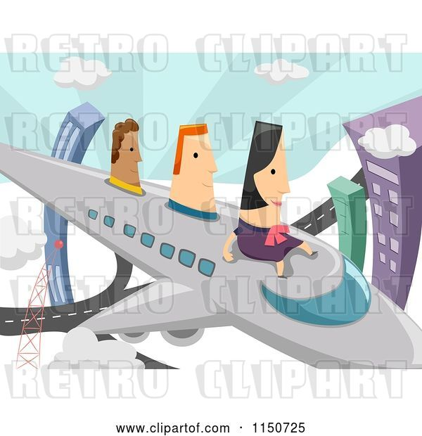 Vector Clip Art of Retro Lady and Men Flying on an Airplane