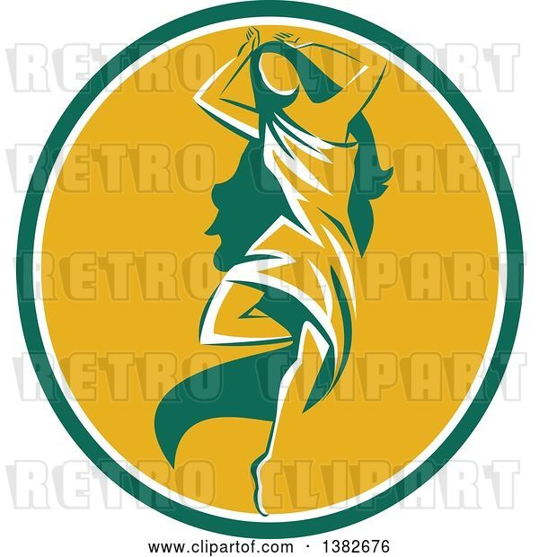 Vector Clip Art of Retro Lady, Aphrodite, Dancing a Pirouette in a Green White and Yellow Oval