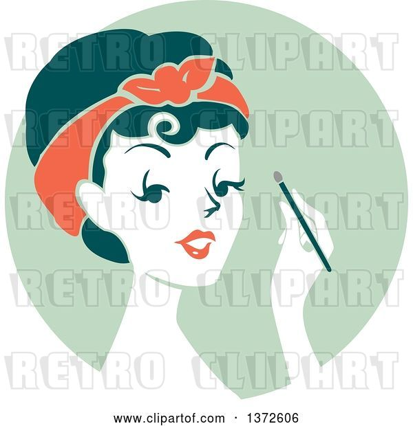 Vector Clip Art of Retro Lady Applying Eyeshadow over a Green Circle