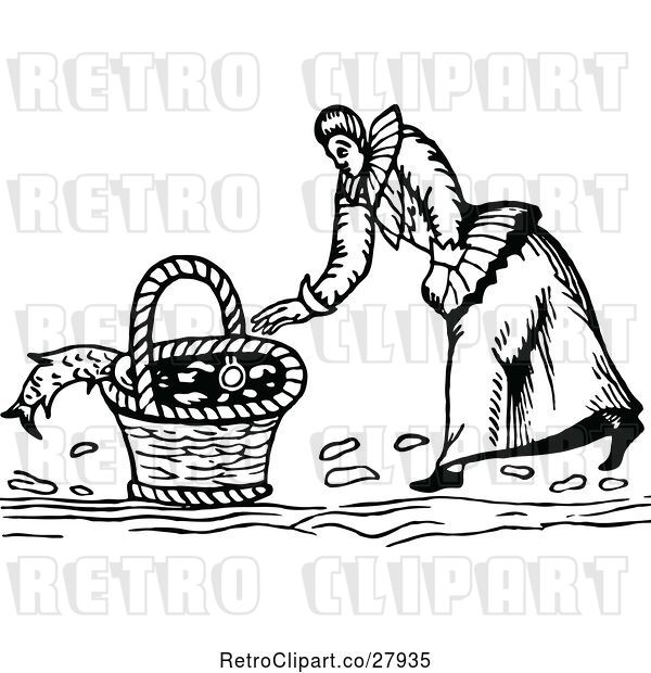 Vector Clip Art of Retro Lady Basket and Fish