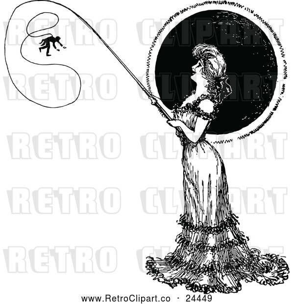Vector Clip Art of Retro Lady Catching a Man on a Fishing Pole