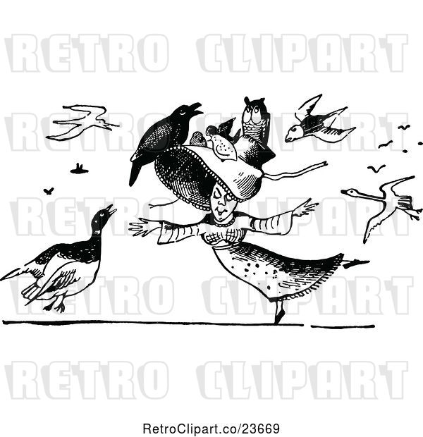 Vector Clip Art of Retro Lady Dancing, with Birds All Around Her and on Her Hat