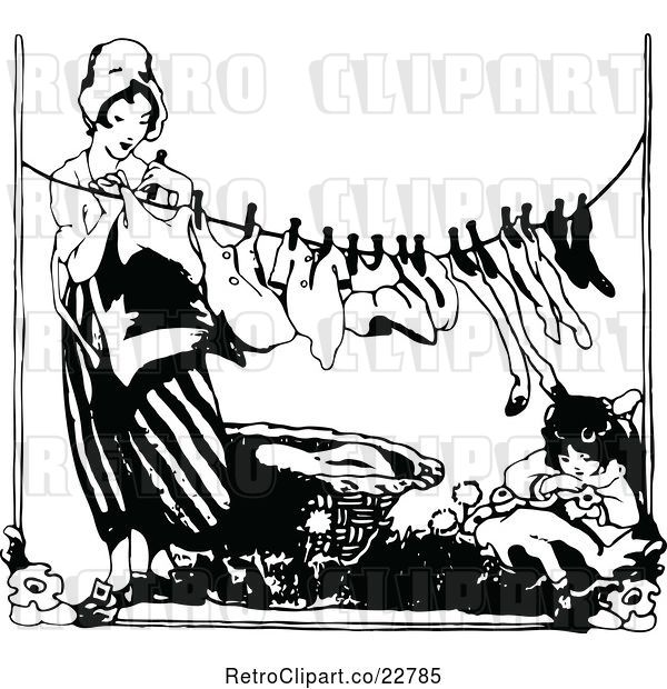 Vector Clip Art of Retro Lady Hanging Laundry As Her Daughter Rests