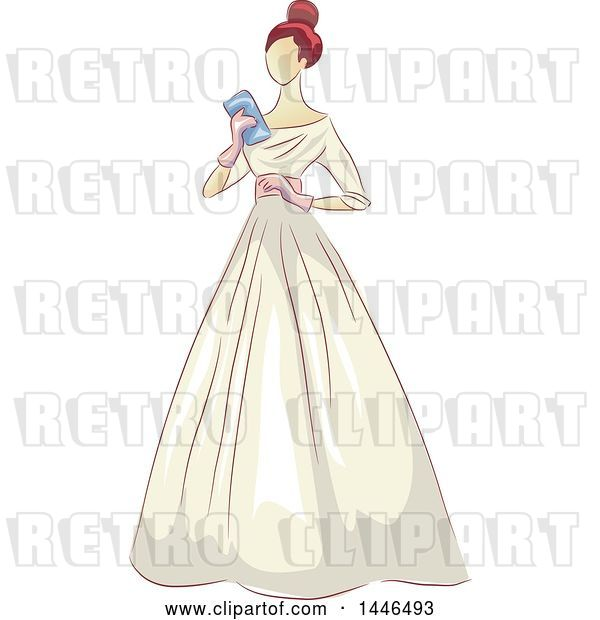 Vector Clip Art of Retro Lady Holding a Clutch and Wearing a Beautiful Gown