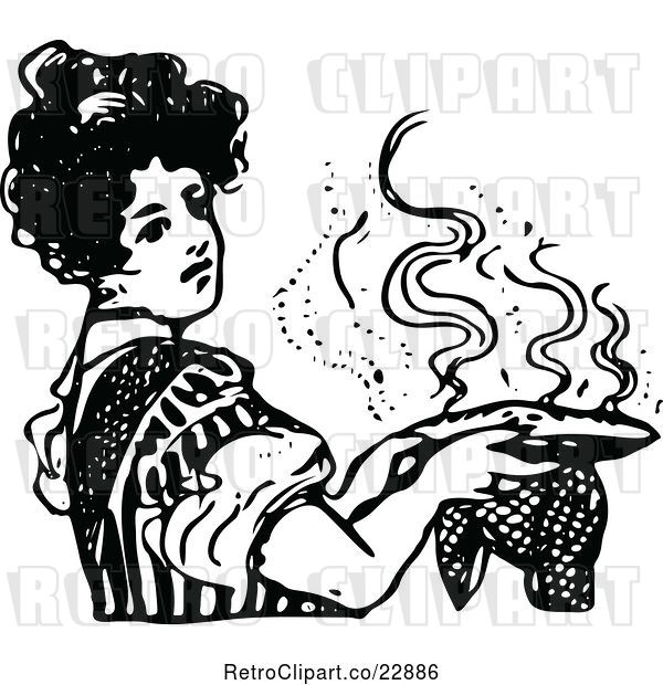 Vector Clip Art of Retro Lady Holding a Hot Pie