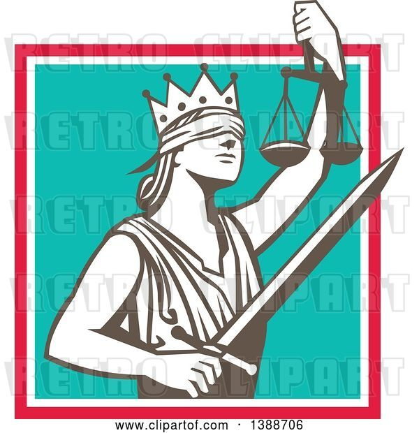 Vector Clip Art of Retro Lady Justice Wearing a Crown, Holding a Sword and Scales in a Square