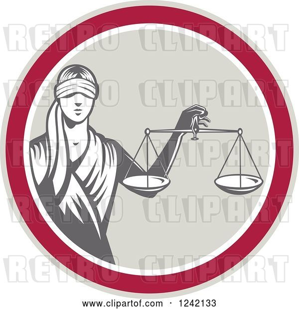 Vector Clip Art of Retro Lady Justice with Scales in a Circle