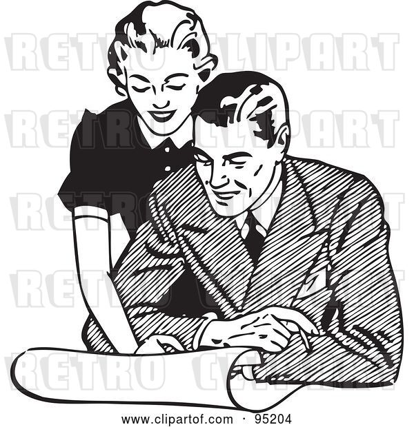Vector Clip Art of Retro Lady Leaning over a Guy and Discussing Plans