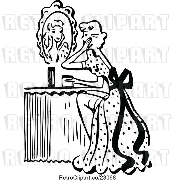 Vector Clip Art of Retro Lady Looking at a Mirror at Her Vanity Table