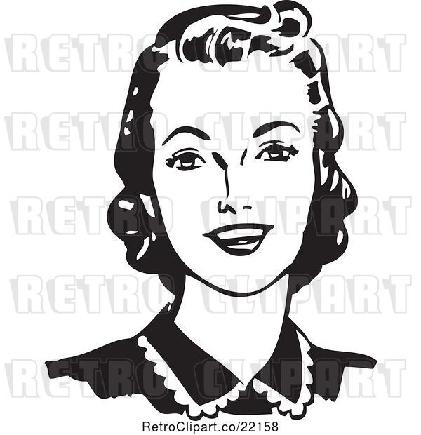 Vector Clip Art of Retro Lady Looking Forward and Smiling