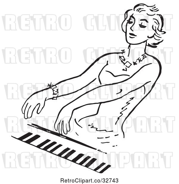 Vector Clip Art of Retro Lady Playing a Pianio in
