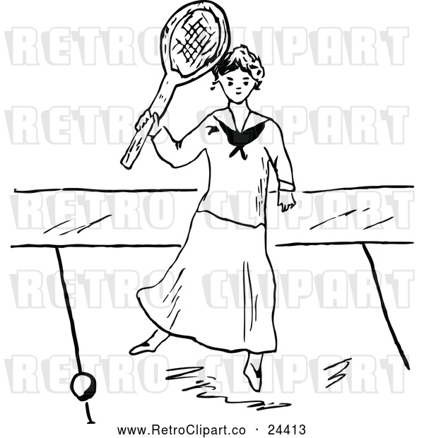 Vector Clip Art of Retro Lady Playing Tennis 2