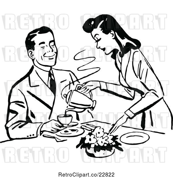 Vector Clip Art of Retro Lady Pouring Her Husband Coffee