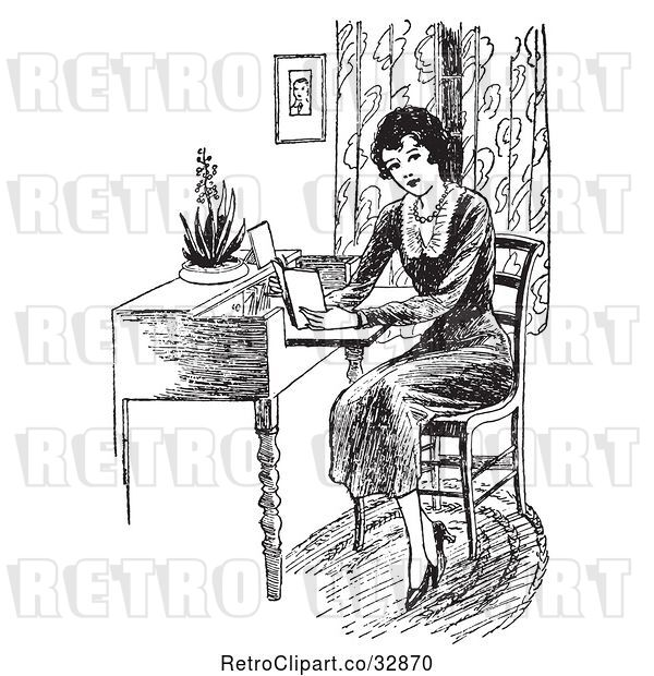 Vector Clip Art of Retro Lady Reading a Book at a Desk
