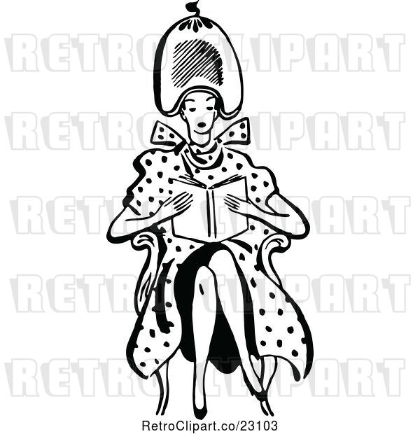 Vector Clip Art of Retro Lady Reading Under a Hair Salon Dryer