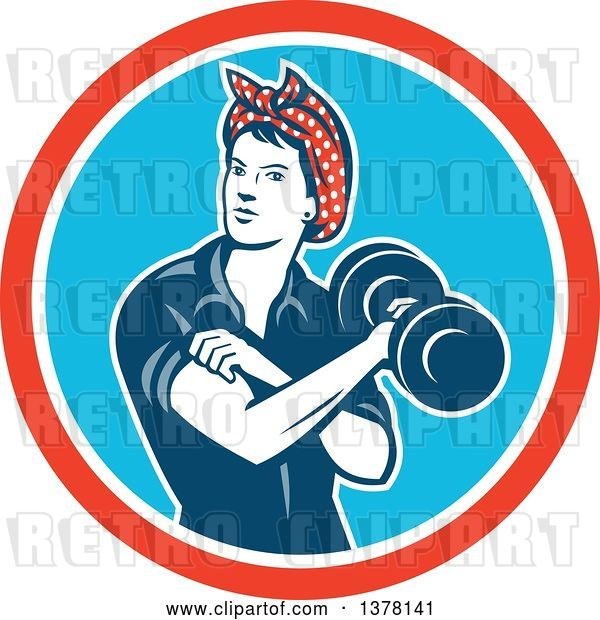 Vector Clip Art of Retro Lady, Rosie the Riveter, Rolling up a Sleeve and Working Out, Doing Bicep Curls with a Dumbbell in a Red White and Blue Circle
