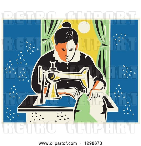 Vector Clip Art of Retro Lady Sewing with a Machine by a Window